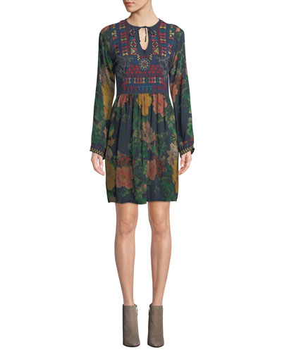Bayani Floral-Print Tunic Dress w/ Embroidery