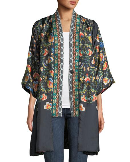 Johnny Was Plus Size Fusai Reversible Printed Kimono w/ Embroidered Trim