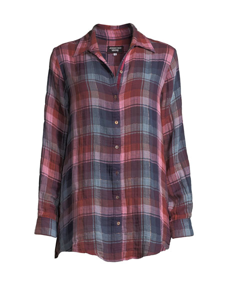 Johnny Was Loire Plaid Shirt with Embroidered Velvet Back