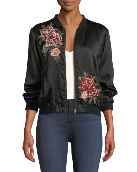 Johnny Was Dragon Embroidered Charmeuse Bomber Jacket