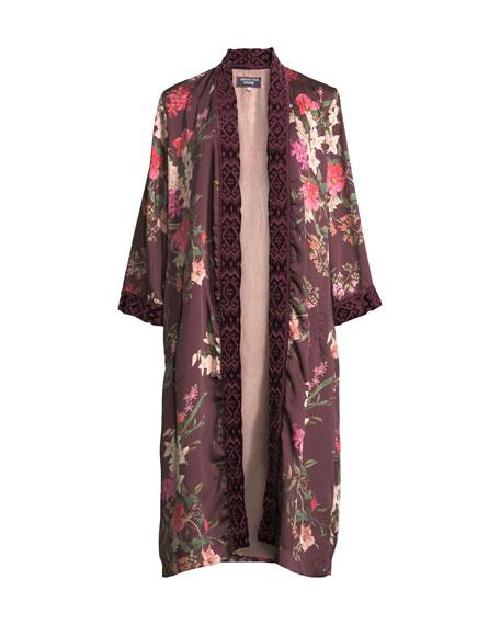 3ab90af15aa Johnny Was Plus Size Velvet Mix Napa Fields Printed Kimono In Multi ...