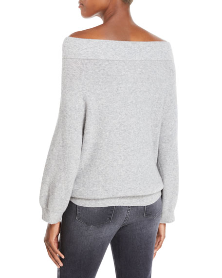 Vicka Off-the-Shoulder Long-Sleeve Ribbed Wool Sweater