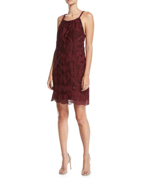 Trina Turk Rancho Halter Dress in Geometric Mesh