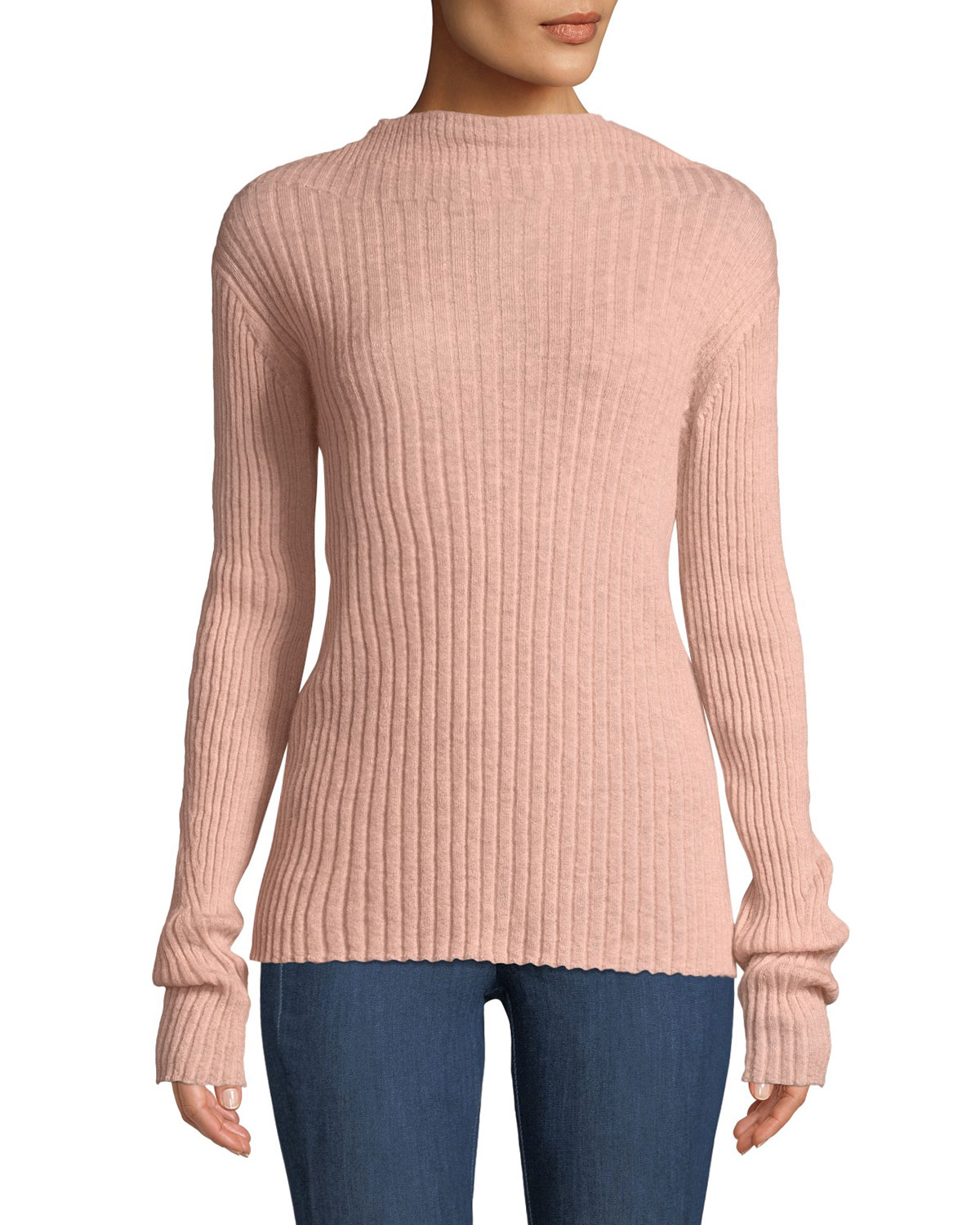 Donna Ribbed Mohair Turtleneck Sweater