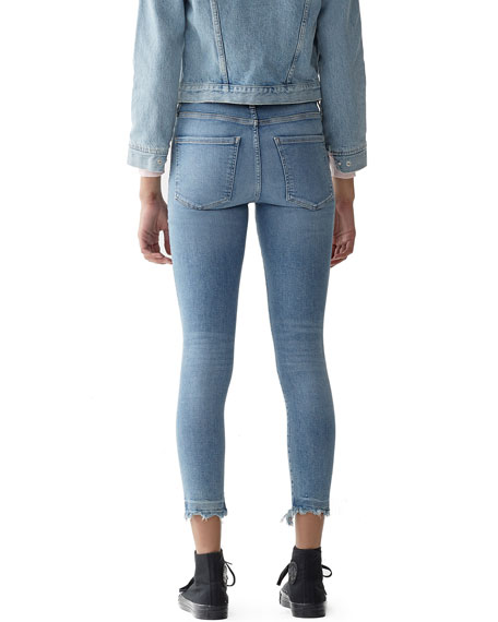 AGOLDE Sophie High-Rise Cropped Skinny Jeans with Chewed Hem