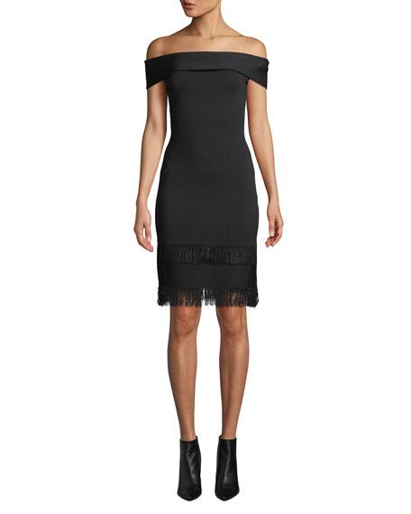 Sachin & Babi Noir Serena Off-Shoulder Fringe Dress
