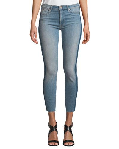 Stunner Skinny Step-Hem Frayed Jeans with Racer Stripes