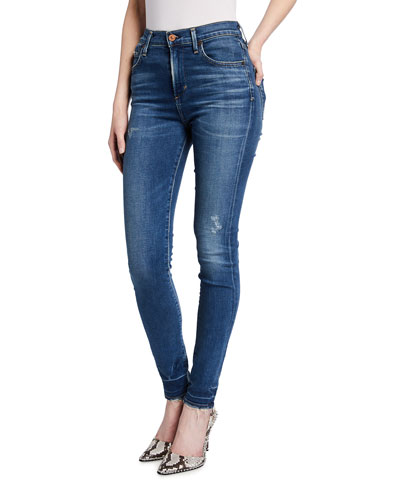Rocket High-Rise Skinny Jeans with Distressing