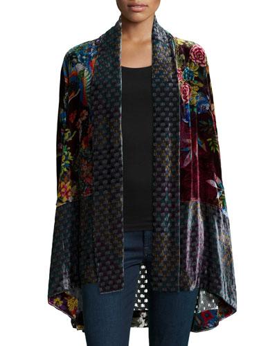 Petite Dream Multi-Print Velvet Kimono Jacket
