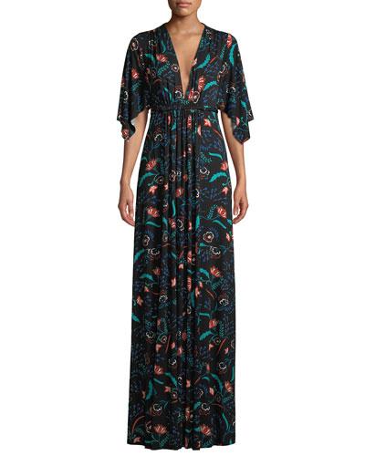 Vine-Print Caftan Maxi Dress