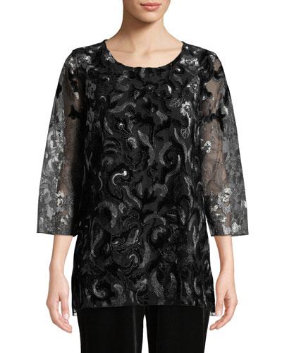 Plus Size Velvet Lace 3/4-Sleeve Tunic