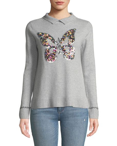 Lisa Todd PETITE SEQUIN BUTTERFLY LONG-SLEEVE CASHMERE SWEATER