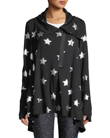 Terez Foil-Printed Draped Zip-Front Jacket