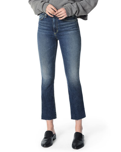 The Callie Raw-Hem Distressed Cropped Jeans