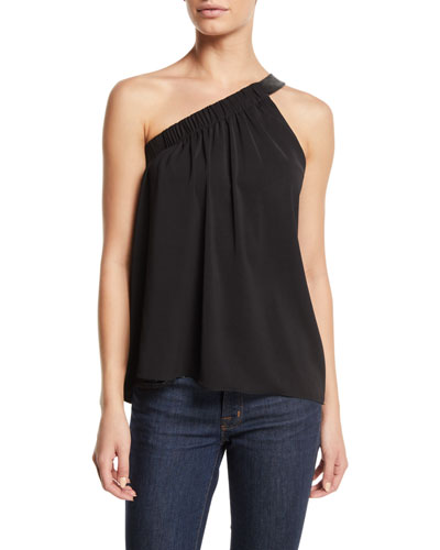 Arielle Gathered One-Shoulder Top with Leather Strap