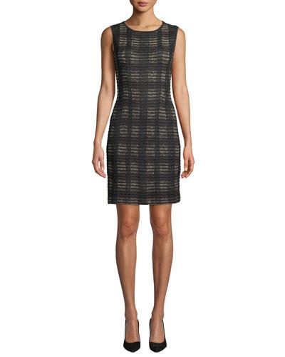 Plus Size Sleeveless Plaid Knit Dress