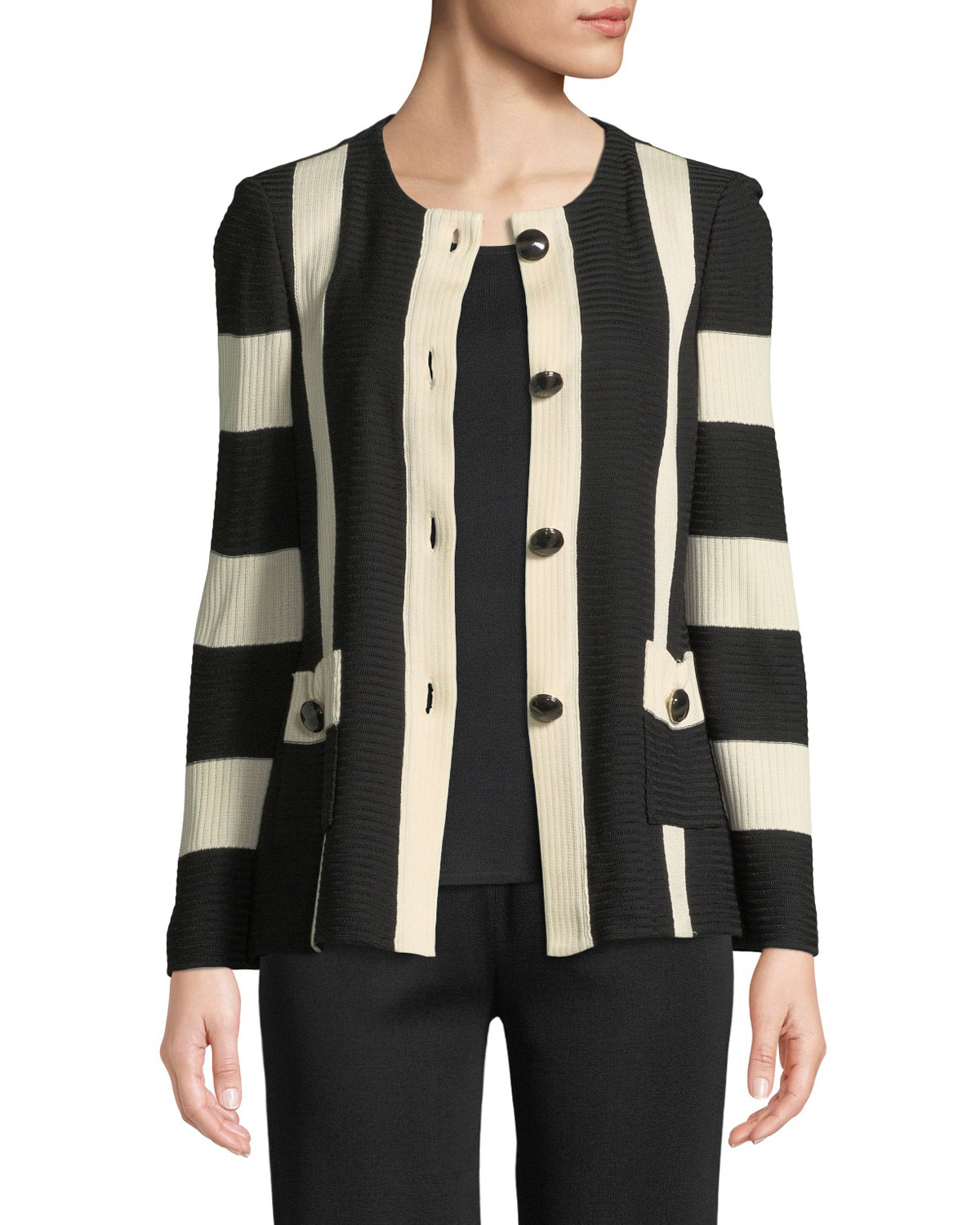 Misook Striped Button-Front Jacket