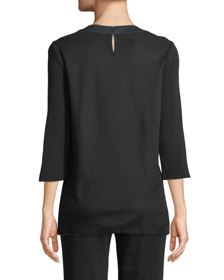 Misook 3/4-Sleeve Bejeweled-Neck Textured Tunic