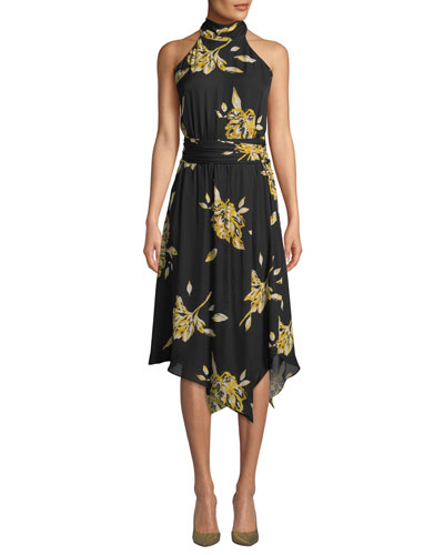 Kehlani Floral-Print Silk Halter Dress