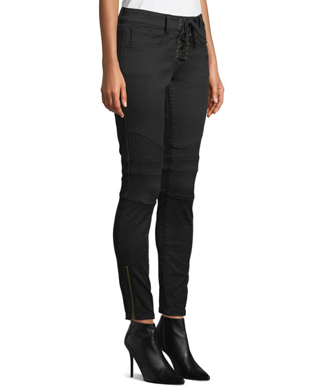 Image 3 of 3: Joie Adorea Skinny Lace-Up Ankle-Zip Moto Pants