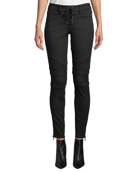 Image 1 of 3: Joie Adorea Skinny Lace-Up Ankle-Zip Moto Pants