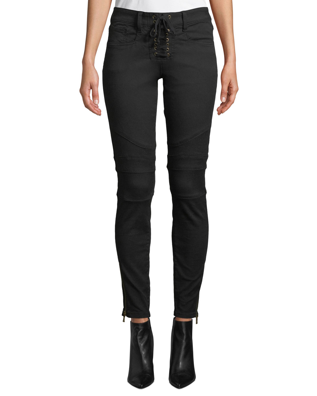 Joie Adorea Skinny Lace-Up Ankle-Zip Moto Pants