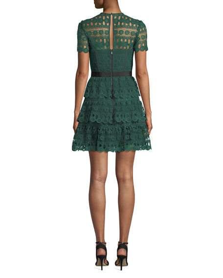 Self-Portrait Tiered Lace Guipure Short-Sleeve Cocktail Dress
