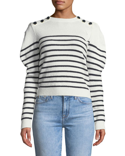 Ruthine Button-Shoulder Stripe Sweater