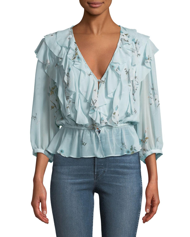 d03ae1ad9cb2 Joie Arleyne Ruffled Floral Silk Top | Neiman Marcus