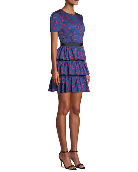 6d665a090d Tiered Printed Ruffle Short-Sleeve Mini Dress