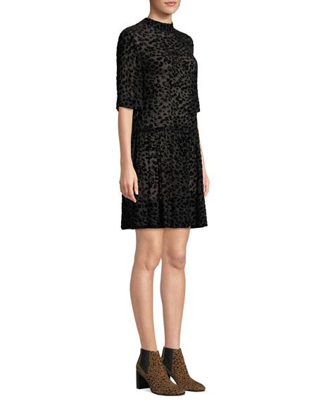 Rag & Bone Gia Animal-Print Velvet Burnout Shift Dress