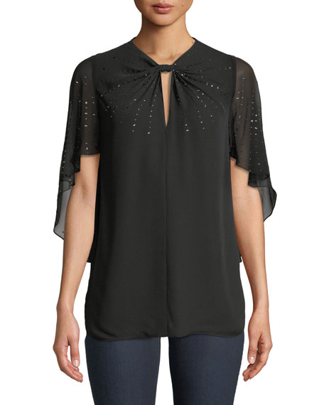 Elie Tahari Yona Cape-Sleeve Sequin Silk Blouse