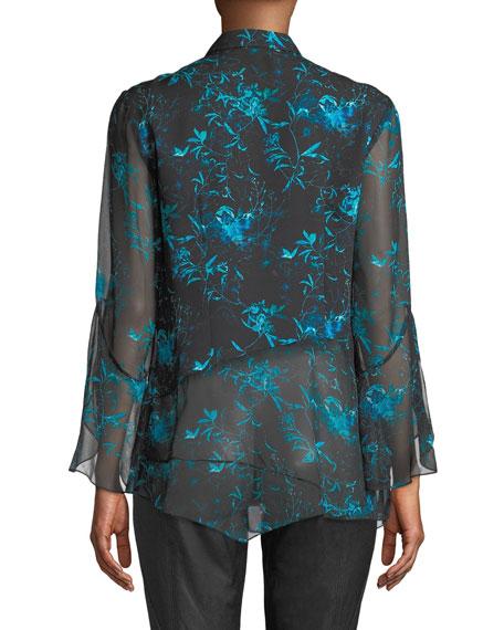 32eb30f6858c34 Elie Tahari Layla Floral-Print Silk Blouse | Neiman Marcus