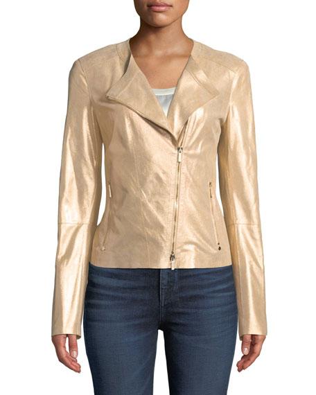 Lafayette 148 New York Trista Stardust Glitter Suede Zip-Front Jacket