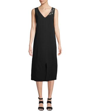 16ce02af Lafayette 148 New York Dante Finesse Crepe Dress with Embellished Detail