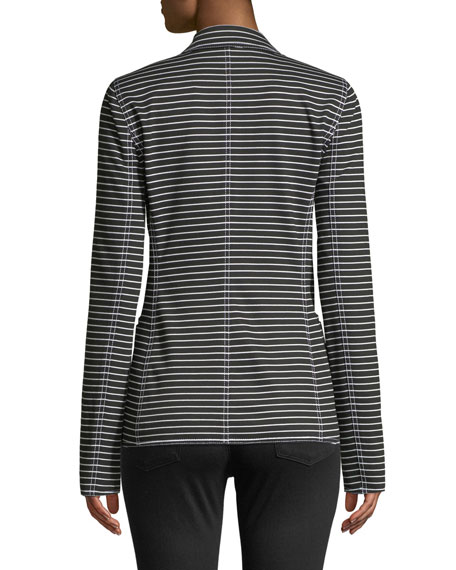 Lafayette 148 New York Devin Double-Breasted Striped Twill Jacket