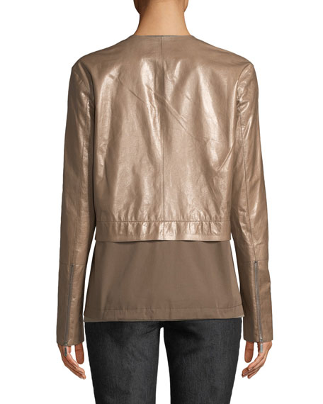Lafayette 148 New York Albany Lacquered Leather Jacket w/ Cotton Combo