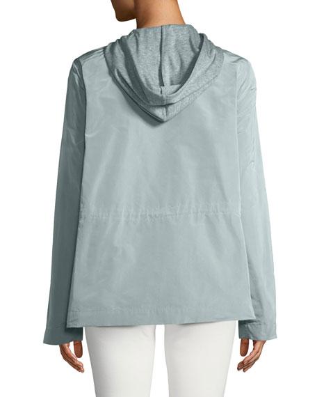 Lafayette 148 New York Ventura Empirical Tech-Cloth Jacket w/ Zip-Out Hoodie