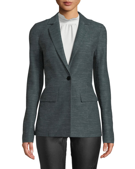 Lafayette 148 New York Marris One-Button Mayfair Weave Jacket