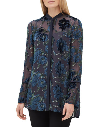Nicolette Button-Front Long-Sleeve Floral Burnout Elite Panne Blouse