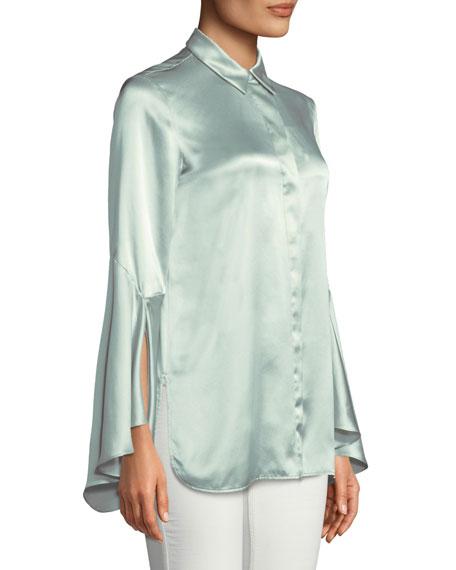 Lafayette 148 New York Cartolina Silk Charmeuse Long-Sleeve Blouse