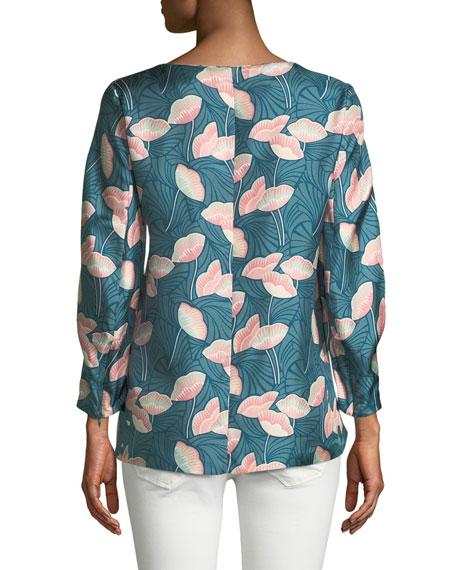 Lafayette 148 New York Caddie 3/4-Sleeve Floral Silk Blouse