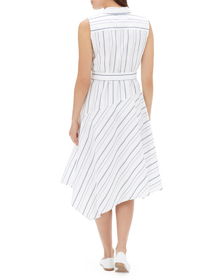 Lafayette 148 New York Dandy Solstice Stripe Sleeveless Self-Tie Shirt Dress