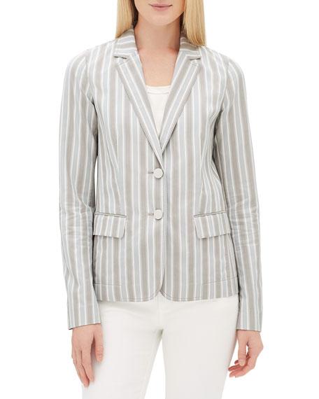 Lafayette 148 New York Vangie Elixir-Stripe Button-Front Jacket