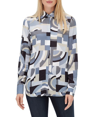 fc6ad57747ed39 Lafayette 148 New York Scottie Button-Front Long-Sleeve Genteel Geometry  Crepe Blouse. Favorite. Quick Look