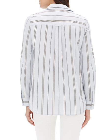 Lafayette 148 New York Velma Long-Sleeve Sonoran Striped Cotton Blouse
