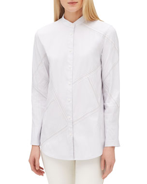 d48722285f6364 Lafayette 148 New York Lenno Streamline Striped Long-Sleeve Button-Front  Blouse. Favorite. Quick Look