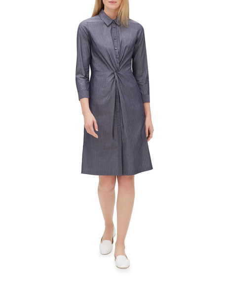 Lafayette 148 New York Federica 3/4-Sleeve Button-Front Avalon-Striped A-line Dress