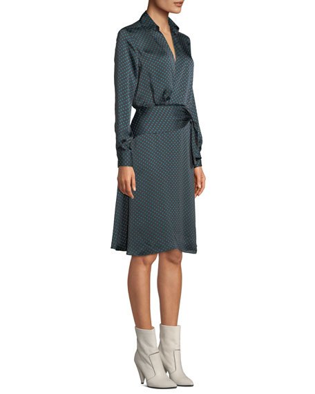 Equipment Short Vivienne Long-Sleeve Polka-Dot Satin Dress