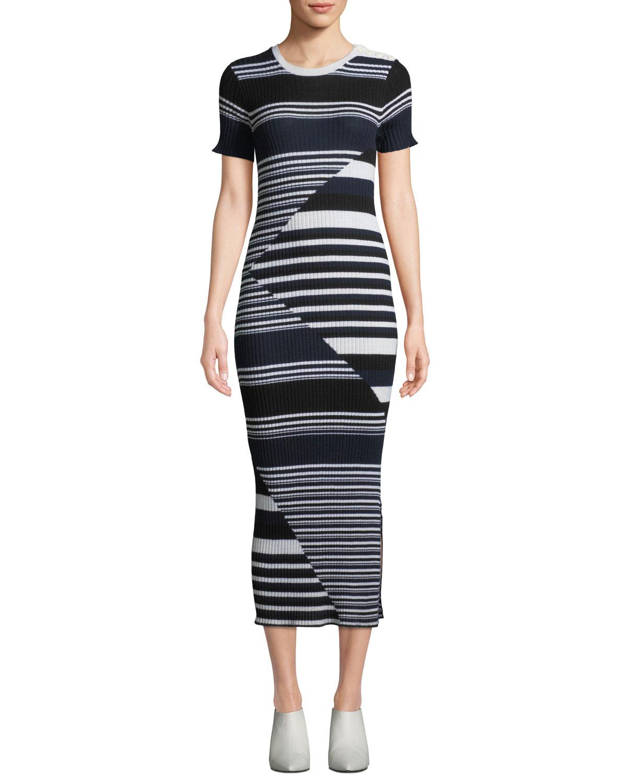 45aae236d94b13 Equipment Dewey Short-Sleeve Multi-Striped Merino Wool Sweaterdress ...